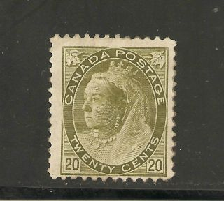 Queen Victoria Numerial Issue 20 Cents 84 No Gum photo