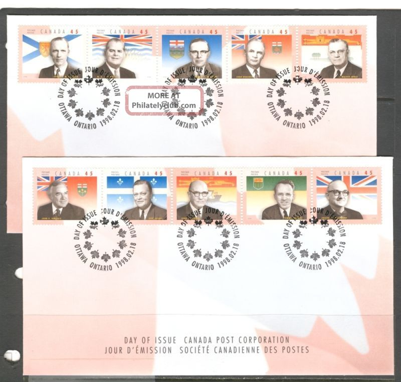 Provincial Flags Premiers Canada 1998 Sc 1709 2 Fdc ' S Canada photo