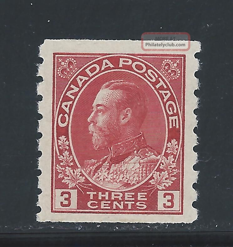 King George V Admiral Coil 3 Cents Carmine 130 Nh Canada photo