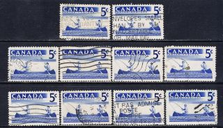 Canada 365 (9) 1957 5 Cent Blue Recreation Sports - Fishing 10 photo