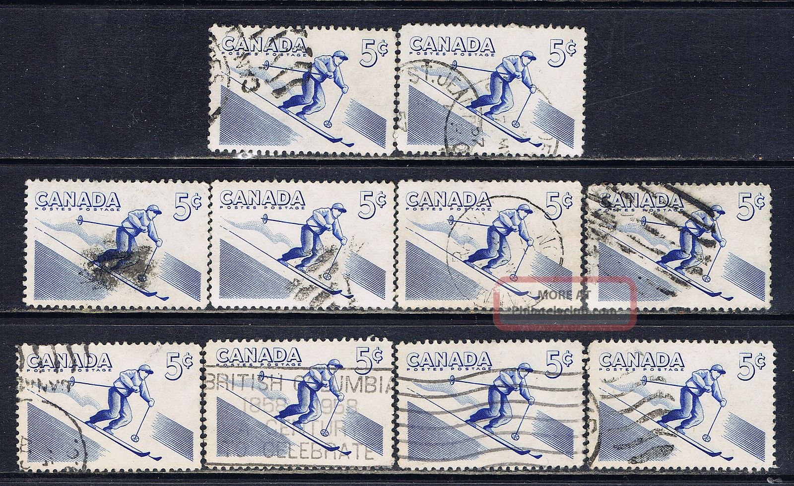 Canada 368 (9) 1957 5 Cent Blue Recreation Sports - Skiing 10 Canada photo