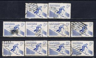 Canada 368 (9) 1957 5 Cent Blue Recreation Sports - Skiing 10 photo