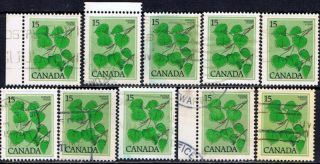 Canada 717 (10) 1977 15 Cent Sage Green Trembling Aspen 10 photo