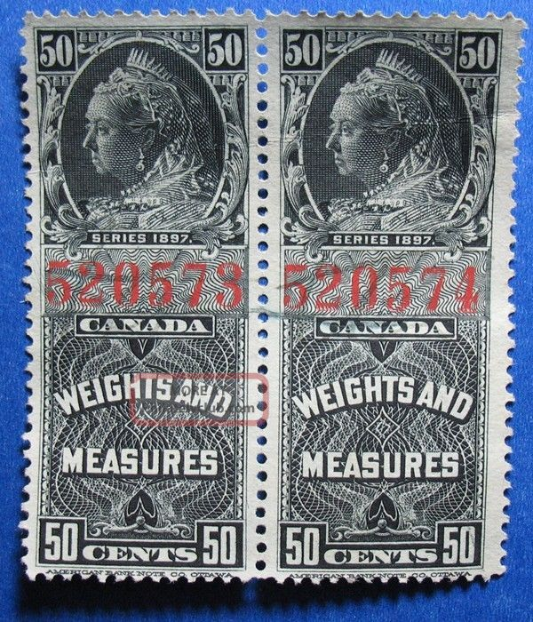 1897 50c Canada Weights Measures Revenue Vd Fwm39 20a Pair Cs12839 Canada photo