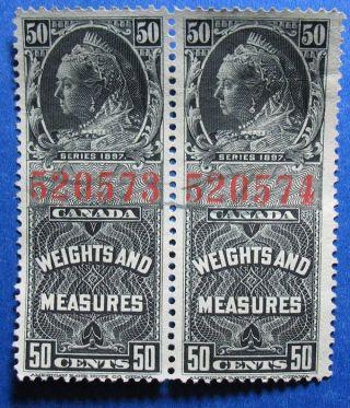 1897 50c Canada Weights Measures Revenue Vd Fwm39 20a Pair Cs12839 photo