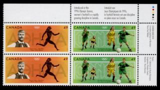 Canada 2050a Tr Plate Block - Olympic Sports,  Soccer photo