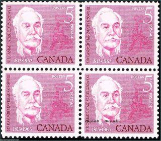 Canada 1963 Sir Casimir Stanislaus Gzowski Railroad Builder Face 20¢ Stamp Block photo