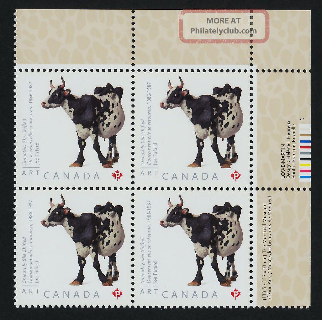 Canada 2522 Tr Plate Block Art,  Joe Fafard,  Cow Canada photo