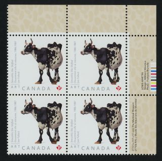 Canada 2522 Tr Plate Block Art,  Joe Fafard,  Cow photo