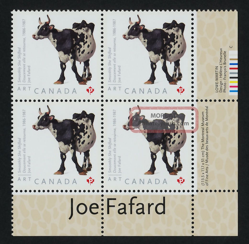 Canada 2522 Br Plate Block Art,  Joe Fafard,  Cow Canada photo