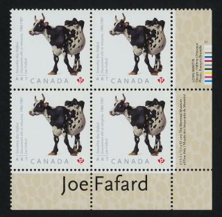 Canada 2522 Br Plate Block Art,  Joe Fafard,  Cow photo