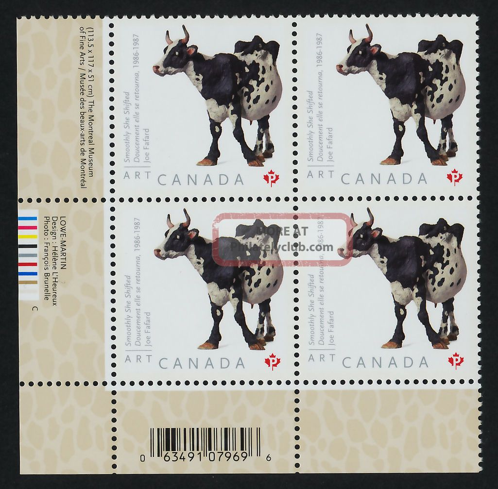 Canada 2522 Bl Plate Block Art,  Joe Fafard,  Cow Canada photo