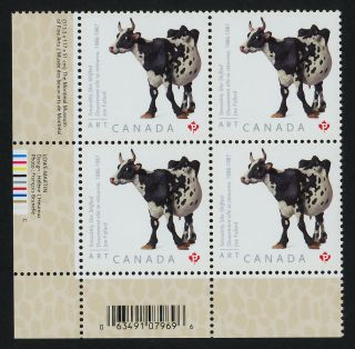 Canada 2522 Bl Plate Block Art,  Joe Fafard,  Cow photo