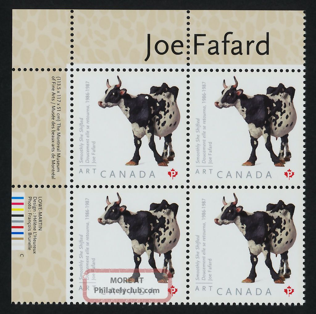 Canada 2522 Tl Plate Block Art,  Joe Fafard,  Cow Canada photo