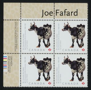 Canada 2522 Tl Plate Block Art,  Joe Fafard,  Cow photo