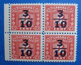 1934 3/10c Canada Excise Tax Revenue Vd Fx105 B 105 Block Cs14966 photo