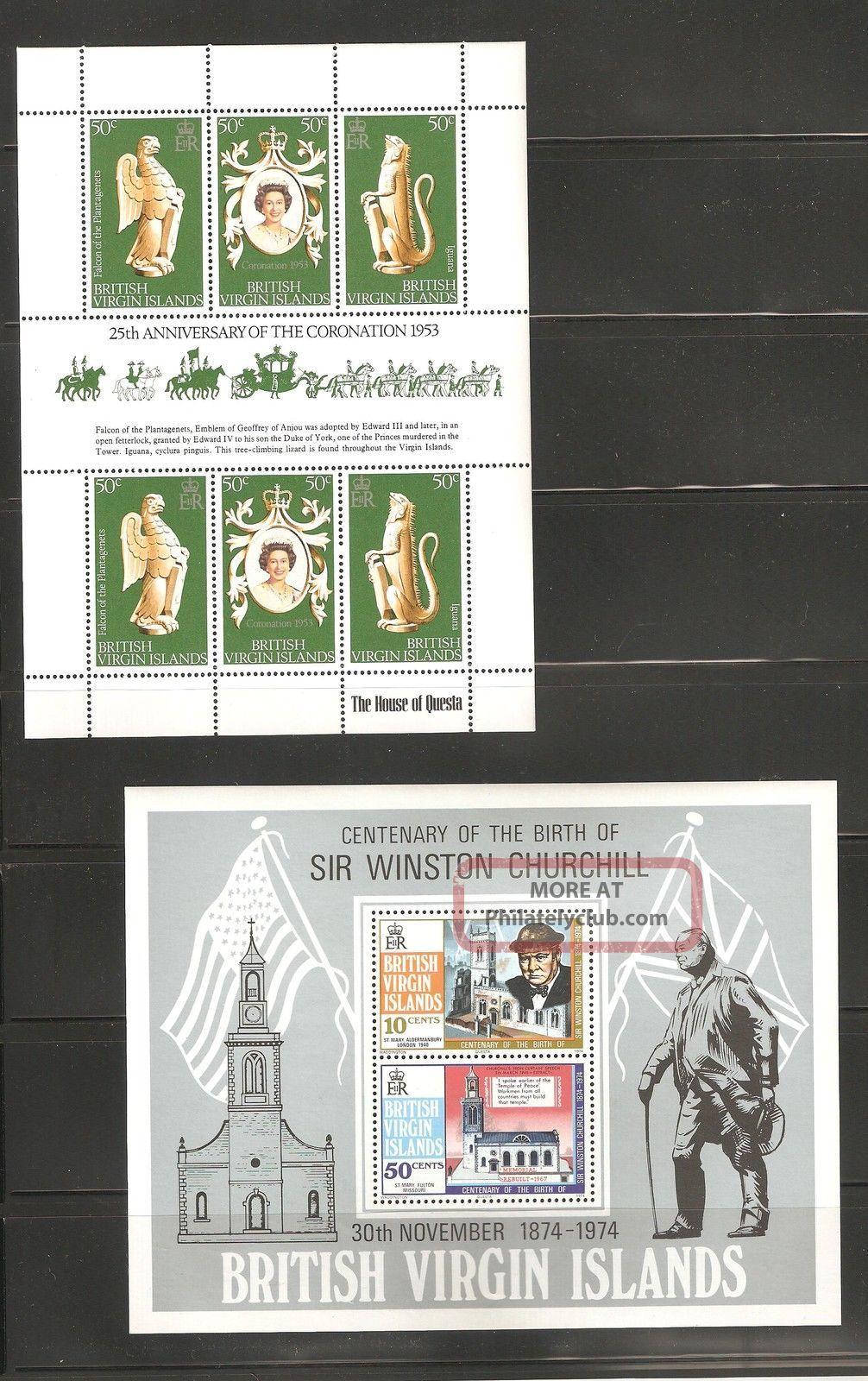 Virgin Islands 1978 S 337 & 1974 S 278 - 279z Churchill Souvenir Sheet Vf British Colonies & Territories photo