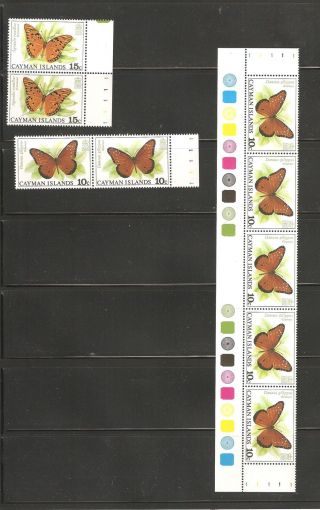 Cayman Islands 1977 Sc 388 Strip Of 5,  389 X 2,  388 X 2 Vf Cv $14 photo