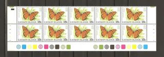 Cayman Islands 1977 Scott 389 Butterflies Strip Of 10 Vf Cv $18 photo
