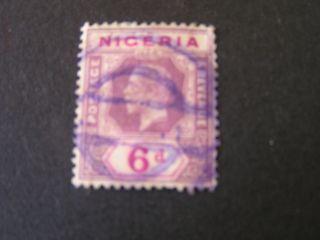 Nigeria,  Scott 7,  6p.  Value Dull Violet On Violet Kgv 1914 - 27 Die I Iss. photo
