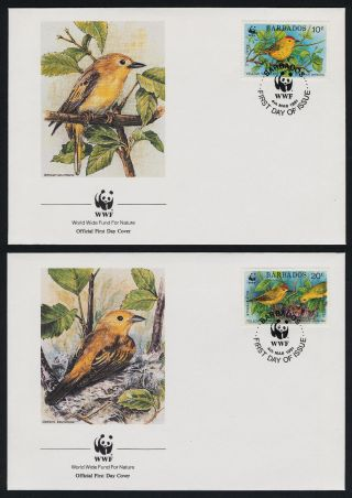 Barbados 795 - 8 Fdc ' S Wwf,  Birds,  Insects photo