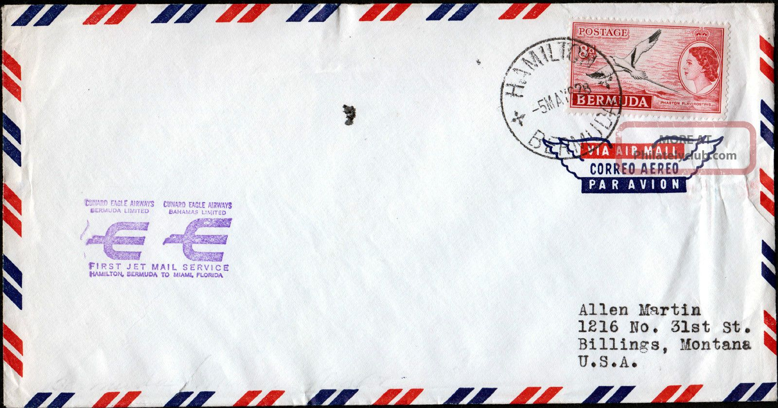 Bermuda - Usa 1959 Airmail Cover F/w Qeii 8d Tied By Hamilton Cds British Colonies & Territories photo