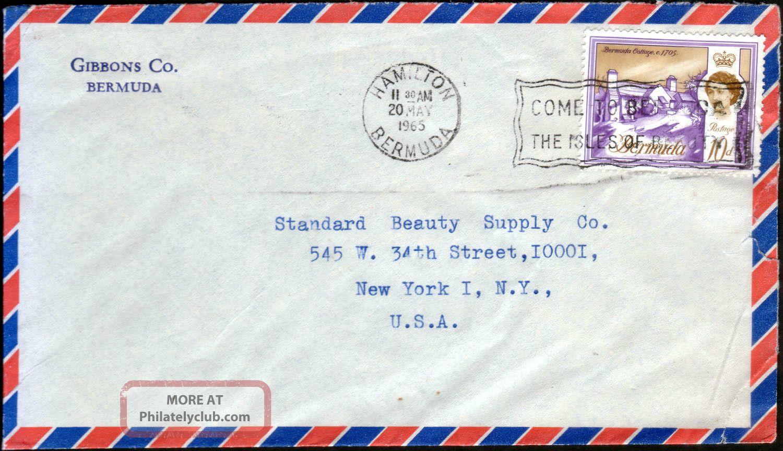 Bermuda 1965 Qeii 10d Definitive Airmail To Usa Hamilton Slogan Marking British Colonies & Territories photo