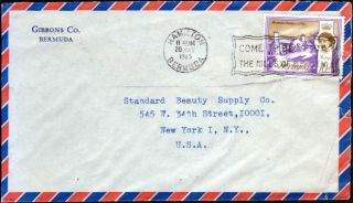 Bermuda 1965 Qeii 10d Definitive Airmail To Usa Hamilton Slogan Marking photo