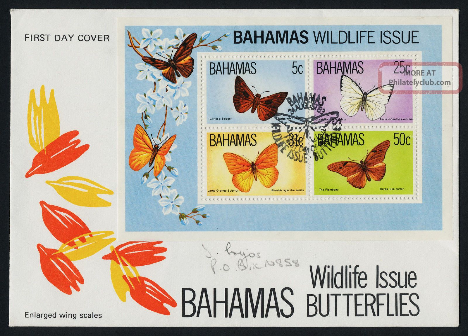Bahamas 542a Fdc Butterfly,  Flower British Colonies & Territories photo