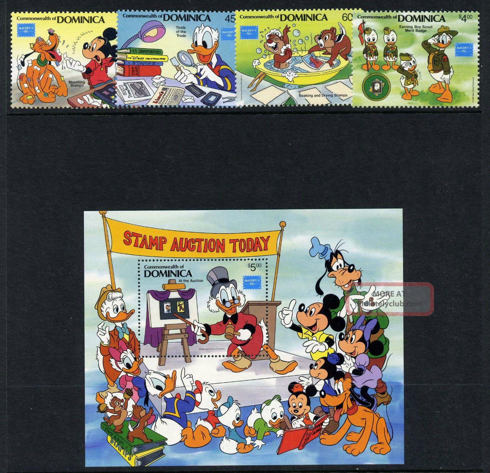 Dominica 954 - 8 Disney,  Stamp Collecting,  Ameripex British Colonies & Territories photo