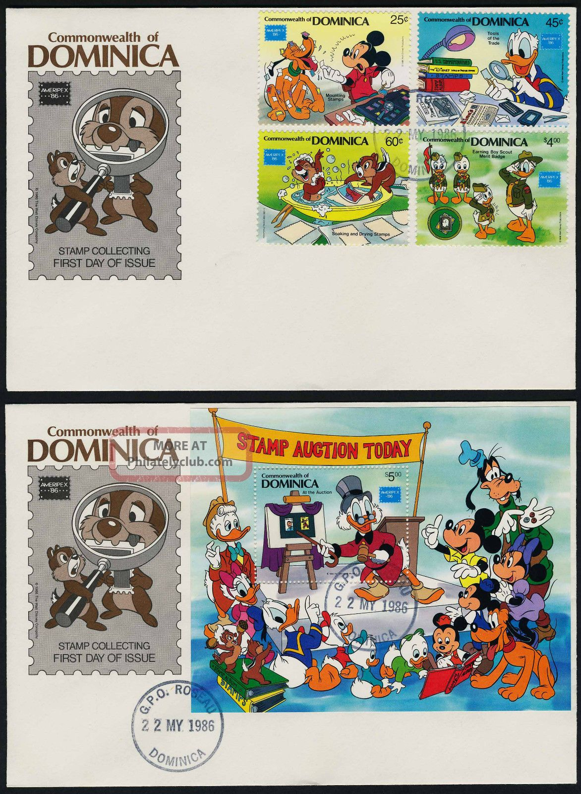 Dominica 954 - 8 Fdc ' S Disney,  Stamp Collecting,  Ameripex British Colonies & Territories photo