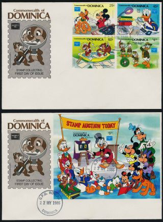 Dominica 954 - 8 Fdc ' S Disney,  Stamp Collecting,  Ameripex photo