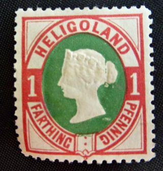 1875 Heligoland 1 Farthing/1 Pfennig Postage Stamp - Rose & Green photo