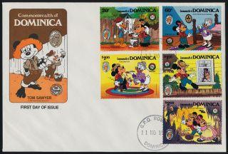 Dominica 919 - 24 Fdc ' S Disney,  Ship,  Mark Twain,  Mickey,  Animals,  Goofey,  Turtle photo