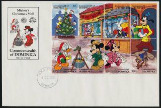 Dominica 1131 - 3 Fdc ' S Disney,  Christmas,  Santa photo