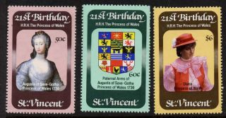 St Vincent 647 - 9 Princess Diana 21st Birthday,  Crest photo