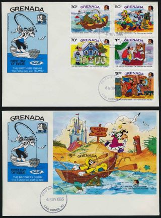 Grenada 1327 - 32 Fdc ' S Disney,  Brothers Grimm,  The Fisherman And His Wife photo