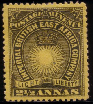 British East Africa,  1890 Mh,  Sg 7 2½a Black /yellow Buff H.  R. photo