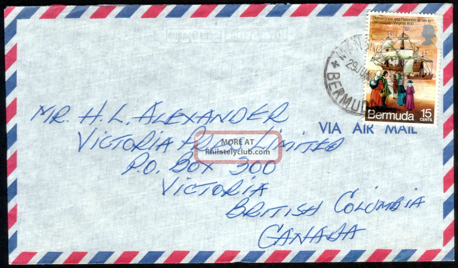Bermuda 1971 Qeii 15c On Airmail Cover To Canada Tied By Unclear Postmark British Colonies & Territories photo