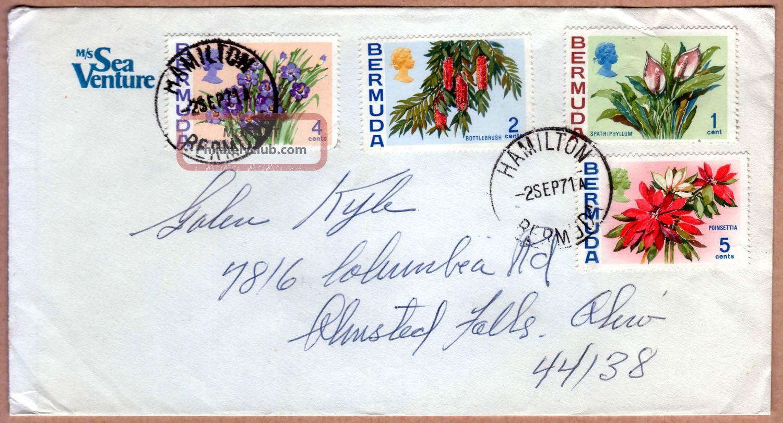 Bermuda 1971 Qeii 1c,  2c,  4c & 5c On M/s Sea Venture Plain Cover To Usa British Colonies & Territories photo