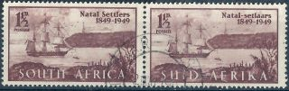 South Africa.  1949. .  Bi - Lingual Pair.  (3043) photo