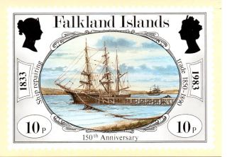 Falkland Islands Sg442 1983 Anniversary 10p Maxi Card Fdi Cancel photo