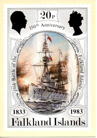 Falkland Islands Sg444 1983 Anniversary 20p Maxi Card Fdi Cancel photo
