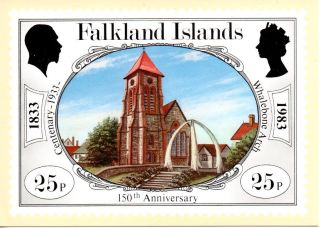 Falkland Islands Sg445 1983 Anniversary 25p Maxi Card Fdi Cancel photo