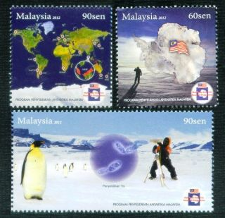 Malaysian Antarctic Research Programme South Pole Penguin Flag World Map photo