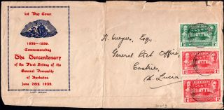 Barbados - Usa 1939 Front F/w Assemly ½d & 2x 1d Tied By Unclear Cds photo