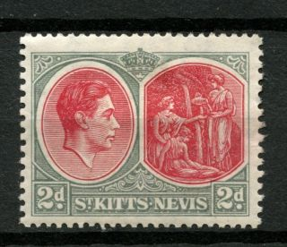 St.  Kitts - Nevis 1938 Sg 71 2d Scarlet & Grey P13x12 Kgvi Mh A37140 photo