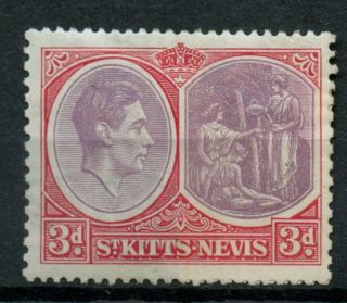 St.  Kitts - Nevis 1938 Sg 73,  3d Purple & Scarlet P13x12 Kgvi Mh Cat £24 A37141 photo