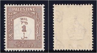 Palestine 1944 Kgvi 1m Brown Perf 15x14.  Sg D12a.  Sc J12a. photo