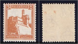 Palestine 1936 Kgv 5m Orange Perf 14½x14.  Sg 93a.  Sc 67c. photo